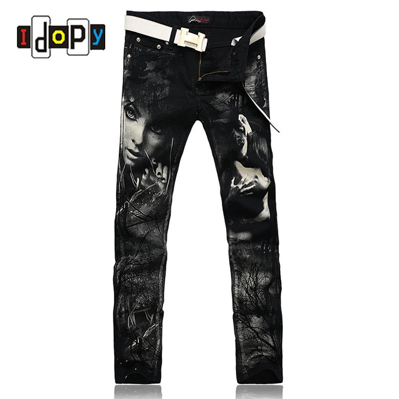 ФОТО New Individual Design Fashion Male Colored Drawing Straight Jeans Men's Denim Movie Characters Pattern Printed Jean For Men