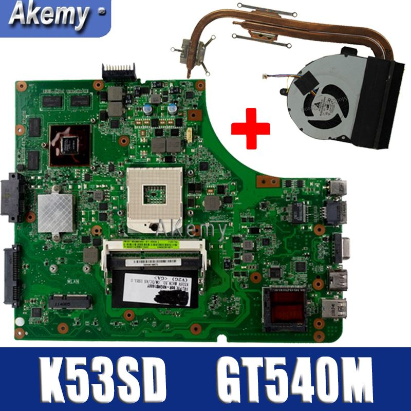 Send Heatsink For ASUS K53SD K53S A53S Laptop Motherboard Mainboard K53SD Motherboard Test 100% OK Motherboard GT540M 1GB HM65
