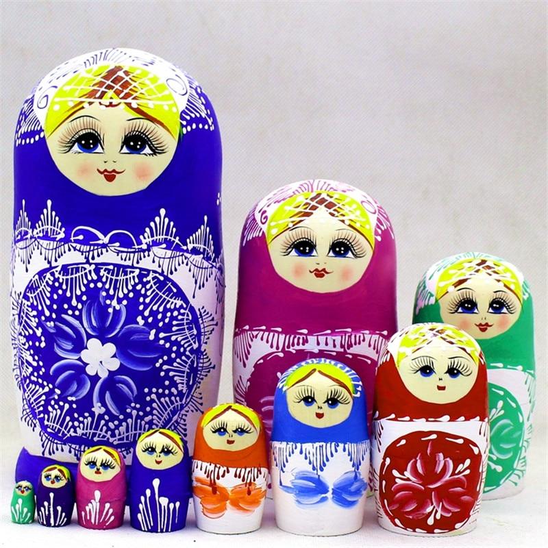 10 pièces En Bois Poupées Russes Traditionnel Matryoshka Souhaitant 10 Couches Créatif peints à La Main Artisanat Tilleul Jouets L30