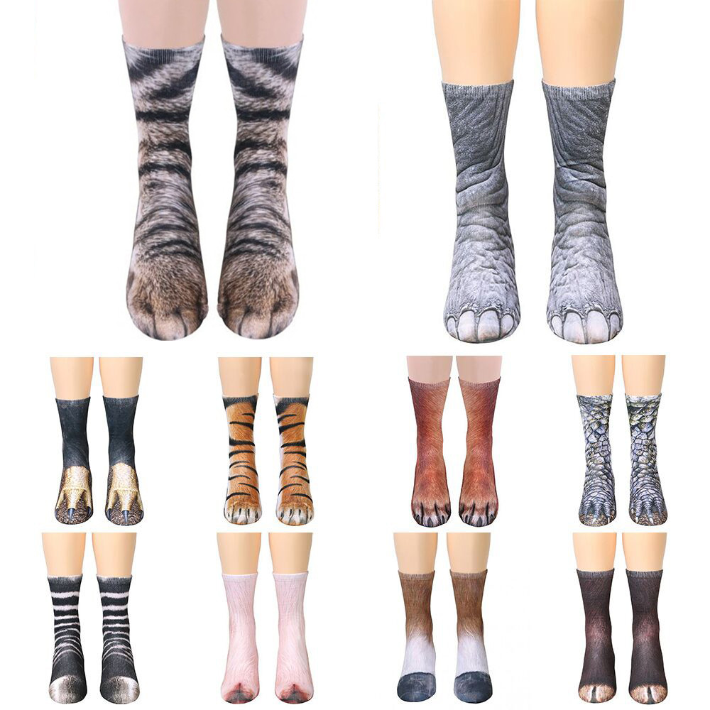 Unisex   Socks   Women Man Adult   Socks   Funny Animal Paw Crew   Socks   Female Male Sublimated Print Cotton   socks