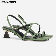 TINGHON Geometric Heel Cross-tie Slipper Sandals Slip on Narrow Band High Heel Sandals Women Open Toe Summer Sandals men fashionable slip on sandals with open toe