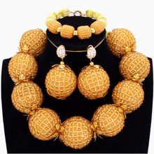 Sparkling Antique Set Gold Dubai Jewellery Set for Women Crystal Big Balls Fashion Costume Jewellery African Arabic Jewelry(China)