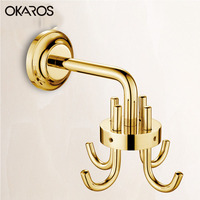 OKAROS Bathroom Robe Hook Cloth Hook 360 Degree Rotation Zinc Alloy Cheap Coat Hook Decorative Wall Hanger
