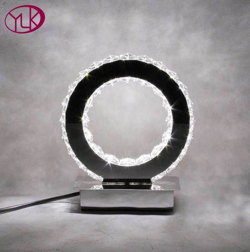 New Modern Round Crystal Led Table Lamp <font><b>Diamond</b></font> Ring Desk Light Beside Lighting Free Shipping Dia19*h23cm Lamps For Home