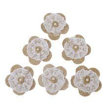 Топ!-6 шт. цветок джутовое кружево ремесло DIY Свадебные украшения