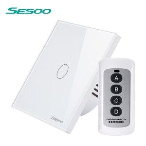 SESOO удаленного Управление сенсорный выключатель 1/2/3 банды 1 способ настенный светильник Сенсорный экран переключатель Водонепроницаемый з...