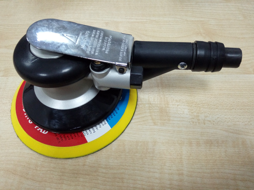 6 inch air sander with vacuum 150mm pneumatic sander 6 air sanding machine silver gray color as picture showed, metal valve