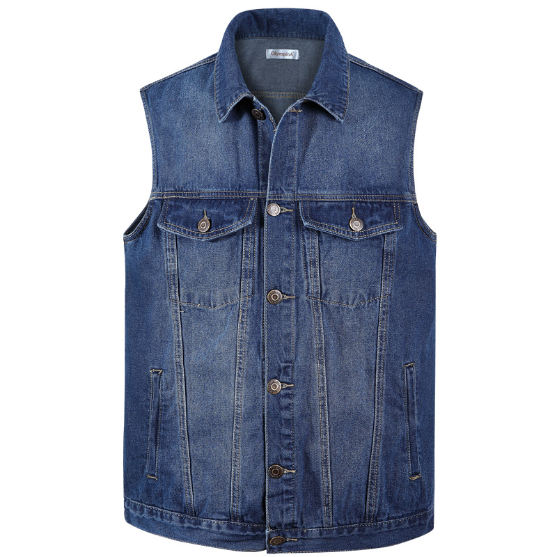 Spring Retro Fashion Mens Casual Denim Vests For Man Cottpn Jean Sleeveless Biker Trucke ...