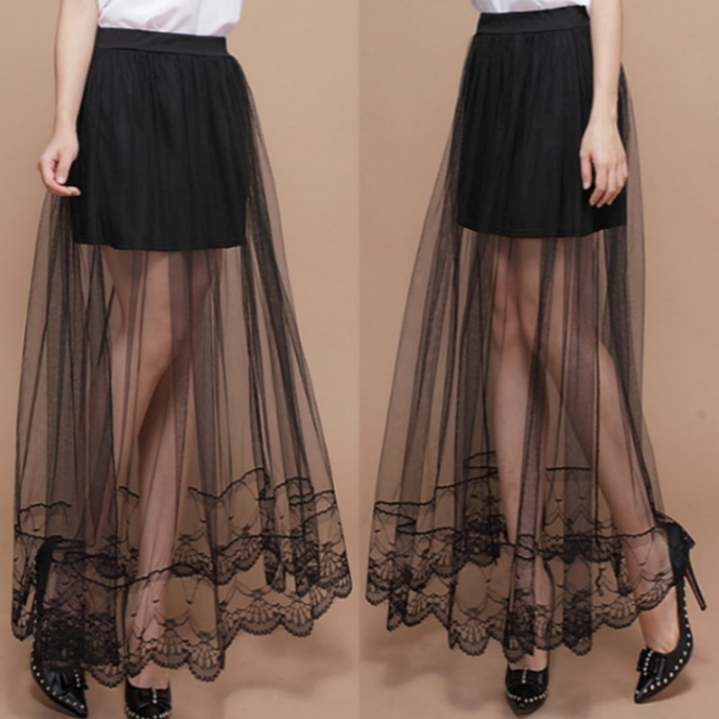 2018 Women New Sexy Lace Skirt Bag Hip Yarn Splicing Rule Base  Midi Skirt