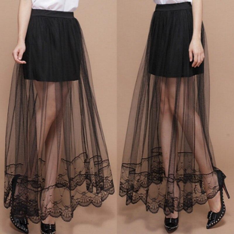 2018 Women New Sexy Lace Skirt Bag Hip Yarn Splicing Rule Base  Midi Skirt