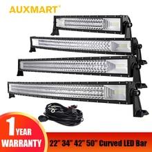 Auxmart 22″ 324W 34″ 486W 42″ 594W 50″ 702W Tri-Row Curved LED Light Bar Offroad Work Light Combo Beam 4X4 4WD LED Bar 12V 24V