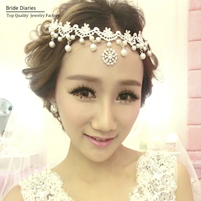 Luxury Lace Pearl Frontlet, Women Bridal hair jewelry ... Бохо Шик 2012