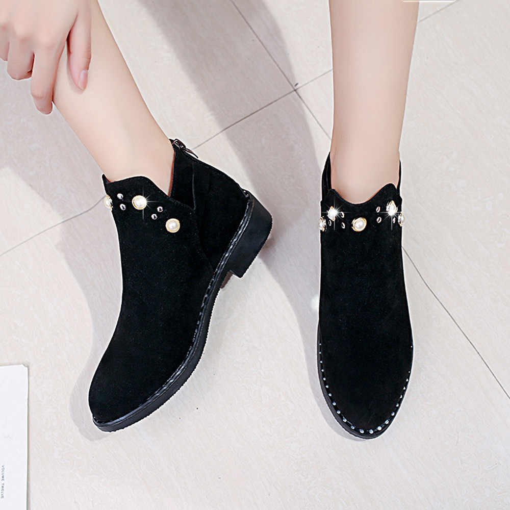 2019 Vintage Women Boots Pearl Shoes Winter Women Shoes Suede Ankle Boots Flat Ankle Short Boots for Women Solid Martins Shoes