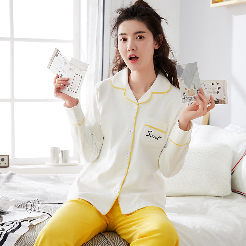 White Yellow Autumn Women Cotton   Pajamas     Sets   Long Sleeve Sleepwear   Set   Two-pieces Breathable Pyjamas Homewear Female Nightwear