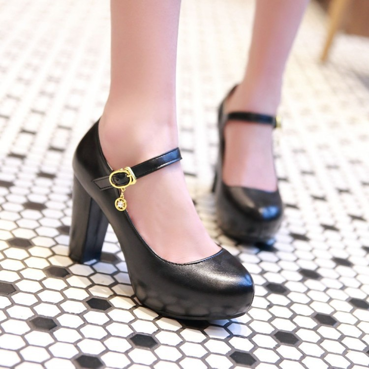 Womens Block Heel Mary jane Platform Ankle Strap Sweet PU Leather Pumps Shoes