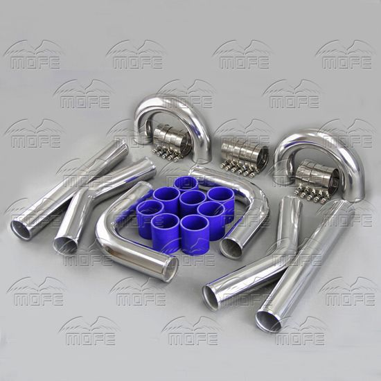 MOFE Turbo Intercooler Universal 2 51mm Aluminum Chrome Turbo Intercooler Pipe Piping Kit + T Clamp + Silicone Hoses Kit 31x12x3 inch universal turbo fmic intercooler 3 inch piping kit toyota supra mkiii mk3 7mgte