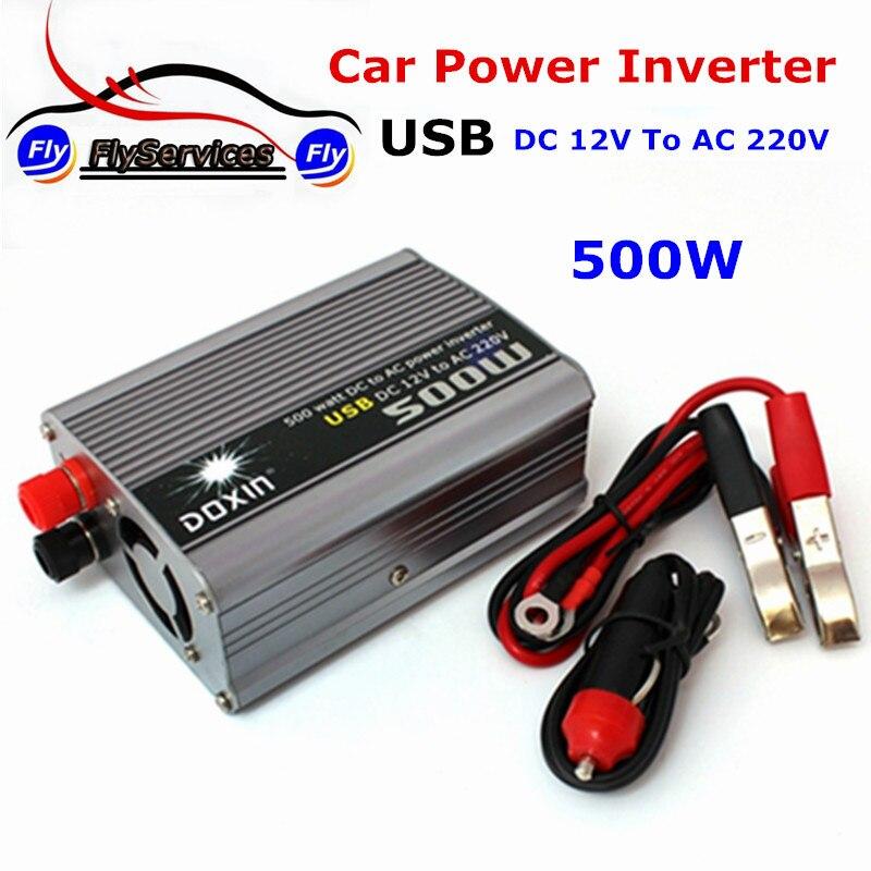 imágenes para Nuevo Diseño Del Coche DOXIN Power Inverter DC 12 V a AC 220 V Cargador de Batería de Coche Universal 500 W Con Puerto USB