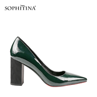SOPHITINA Autumn Square Heels Pumps Dark Green Patent Leather Elegant Office Lady Pumps Sexy Pointed Toe Party Shoes Women W03