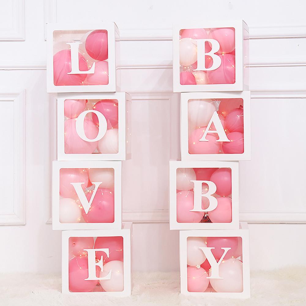 HUIRAN Transparent Box Baby Shower Girl Boy Decorations Wedding Decor Favor box 1st Baby Birthday Party Decor Supplies Weding