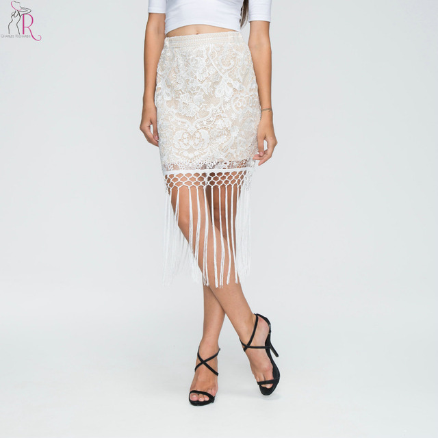 3058c6047 White Floral Crochet Tassel Midi Bodycon Pencil Skirt High Waist Vintage  Party Casual Streetwear 2017 Women