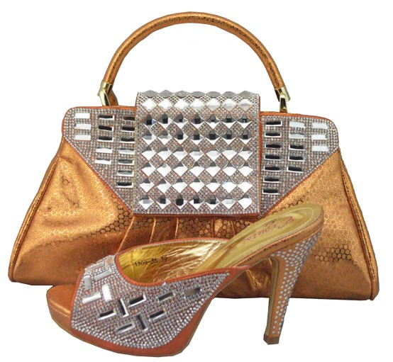 ФОТО Fashion African Shoes Italian Shoe And Bag Set For Party In Women High Quality Italian Shoes With Matching Bags 1308-36