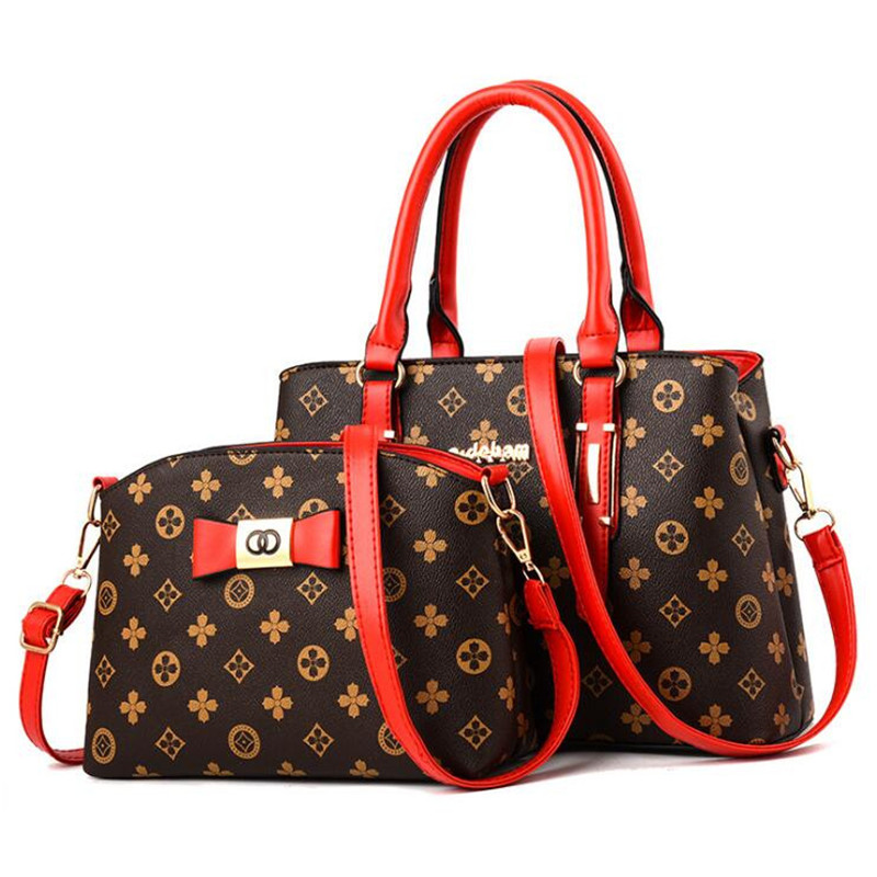 2 pieces / set 2018 new women's fashion shoulder bag handbags Christmas gift retro PU leather handbag 1