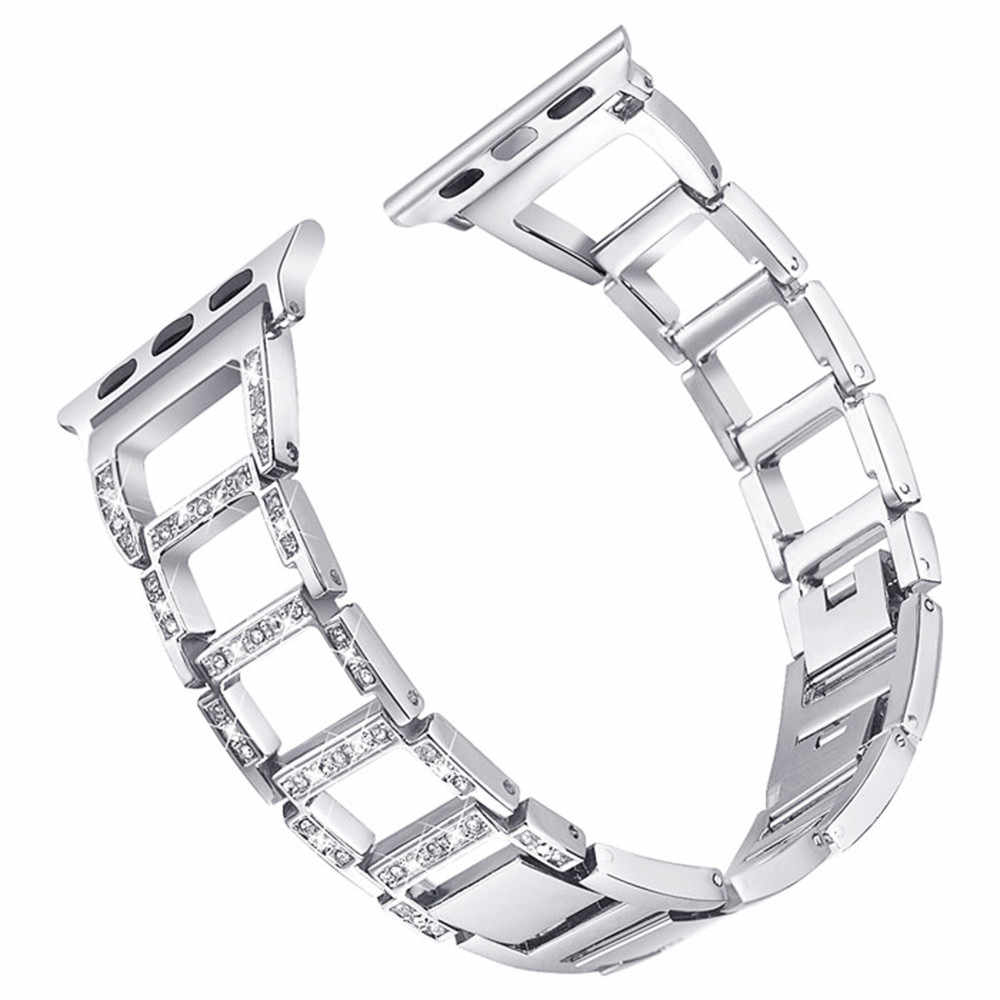 Donne Braccialetto di Diamanti per Apple Watch Band Serie 5 4 3 2 1 Cinturino In Acciaio Inox per iWatch 40/ 44/38/42 millimetri Signore Cintura di Metallo