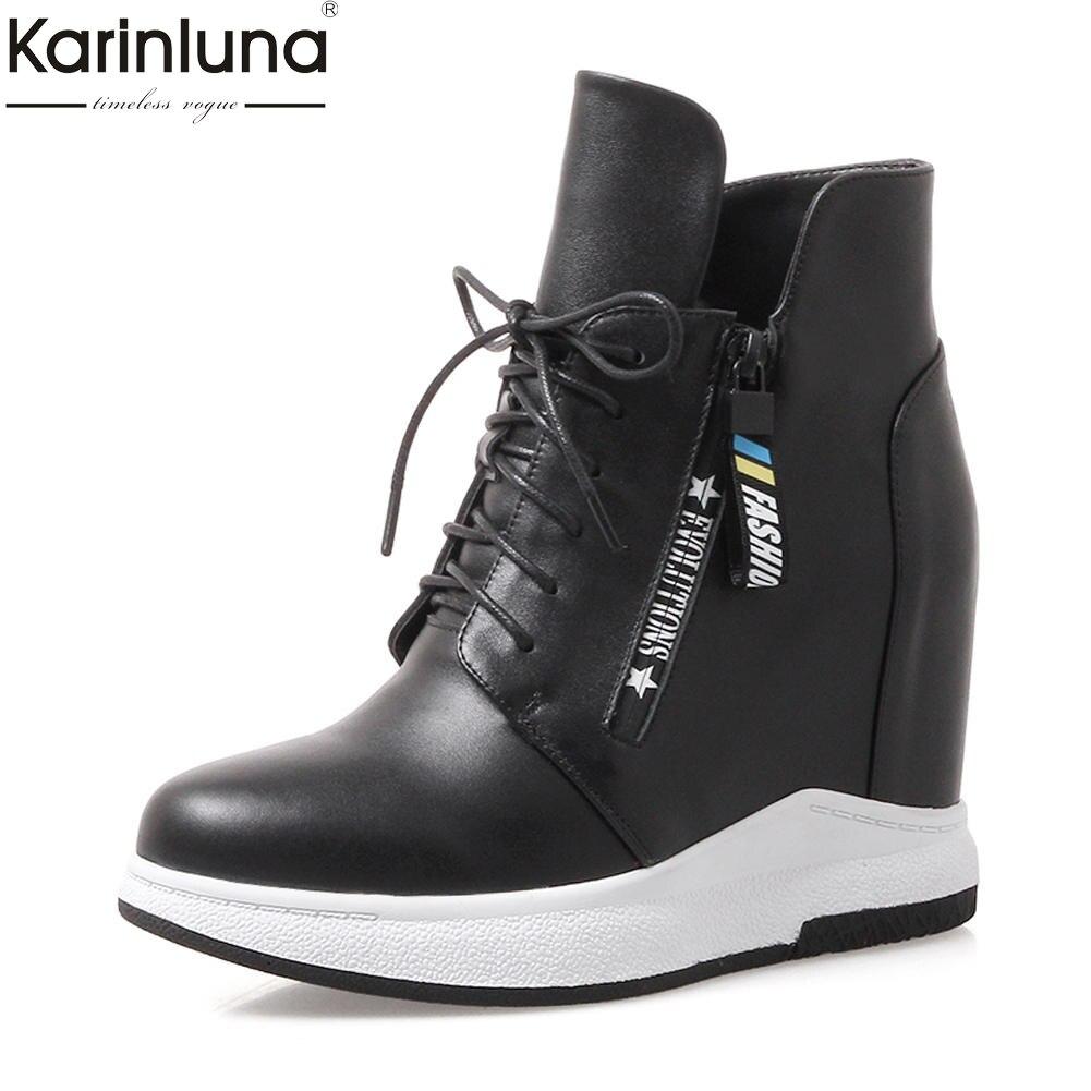 KarinLuna Brand new Large Size 32-40 del Cuoio Genuino Zip Up Della Caviglia Stivali Donna Scarpe Crescente Tacchi Stivali Femminile scarpe da Donna