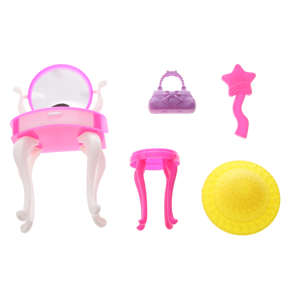 Juguete Mini Dresser Dressing Table Stool Kits for Barbie Dolls Dollhouse Accessory Doll Furniture Toy Kids Pretend Play Toy