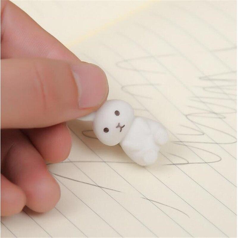 3PCS/lot Cartoon Animal Rabbit Shape Cute Eraser Art Supplies Children's Gift RUBBER Box Packaging TPR Material Student Supplies