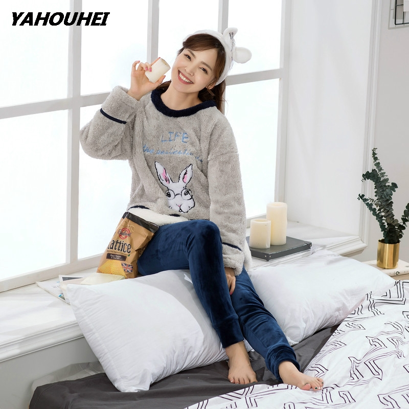 Women's   Pajamas     Sets   Stripe Cartoon Cute Casual Soft Sleepwear 2019 Autumn Winter New Fashion Female Nightgown Suit