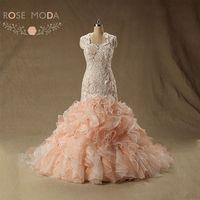 Роза Moda персик Румяна розовый свадебное платье Кепки рукава Кружево Свадебные платья Русалочки плюс Размеры реальные фотографии