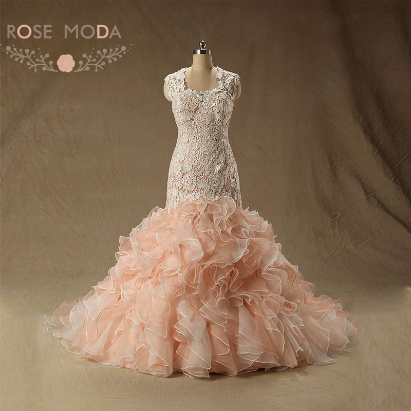 Rose moda peach blush pink wedding dress cap sleeves lace for Wedding dresses with roses on them