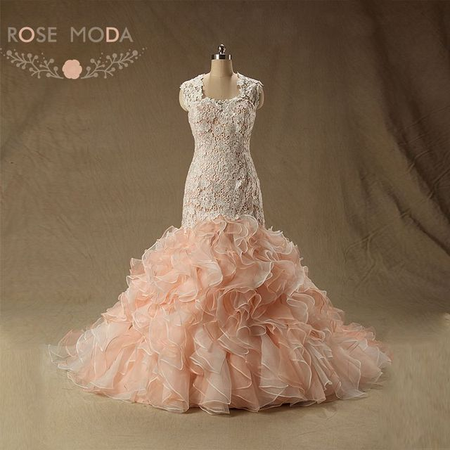 Rose Moda Peach Blush Pink Wedding Dress Cap Sleeves Lace Mermaid Dresses Plus Size Real