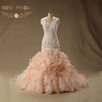 Rose Moda Peach Blush Pink Wedding Dress Cap Sleeves Lace Mermaid Wedding Dresses Plus Size Real Photos