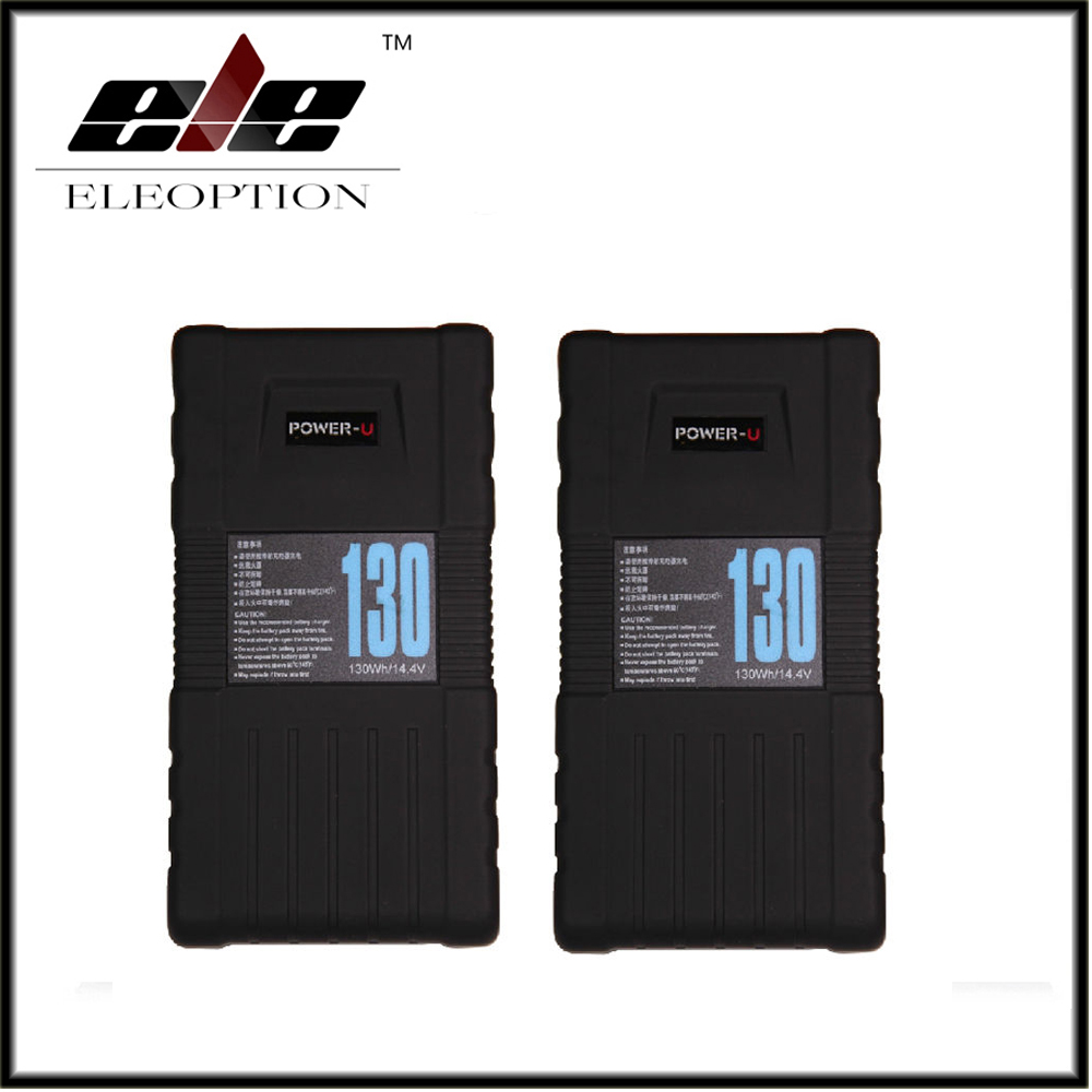 2x Eleoption BP-130S 130Wh POWER-U 14.4V 130W V-Mount Li-ion Battery For SONY 600p 650P high quality bp 130s 130wh power u 14 8v 130w v mount li ion battery for sony 600p 650p