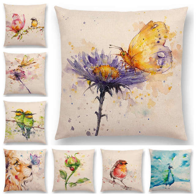 Hot Sale Watercolor Animals Robin Flamingos Kookaburras Lion Flowers  Butterfly Ladybug Lane Bird Wren Cushion Cover Pillow Case d518f8d93f7e