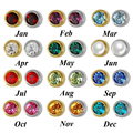 Silver and 24K Gold Plated Sterile Birthstone Ear Piercing Stud Professional for Piercing Gun Stud Earring Tool Kit Body Jewelry