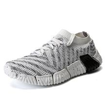 2018 New Brand Style Adult Summer Casual Shoes For Men Fly Weave Sock Comfortable Footware Unisex Mesh Male Shoes Outdoor