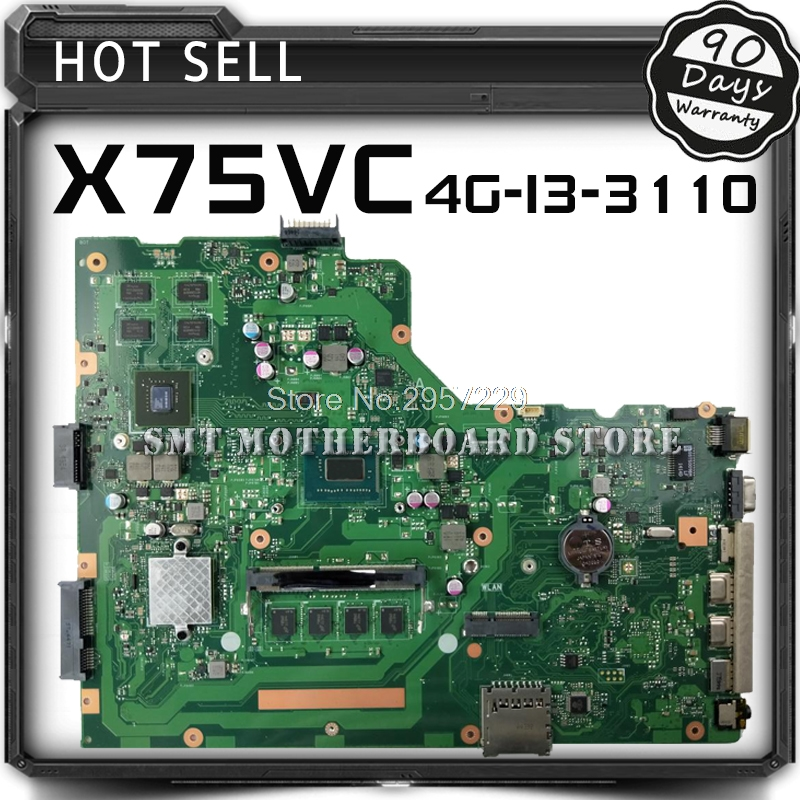 Здесь продается  For ASUS X75VC 4G I3-3110 X75V Laptop Motherboard System Board Main Board Mainboard Card Logic Board Tested Free Shipping S-6  Компьютер & сеть