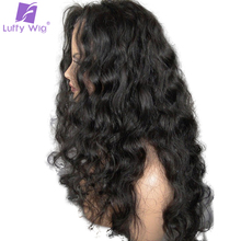 Luffy Wavy 13*6inch Deep Part Glueless Lace Front Human Hair Wigs Pre Plucked Hairline With Baby Hair Brazilian Non Remy Hair