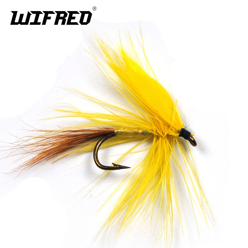 Wifreo 6PCS Yellow Fan Wing Drake Mayfly Dry Fly Stream Trout Flies Wet Mayflies Fly Fishing image