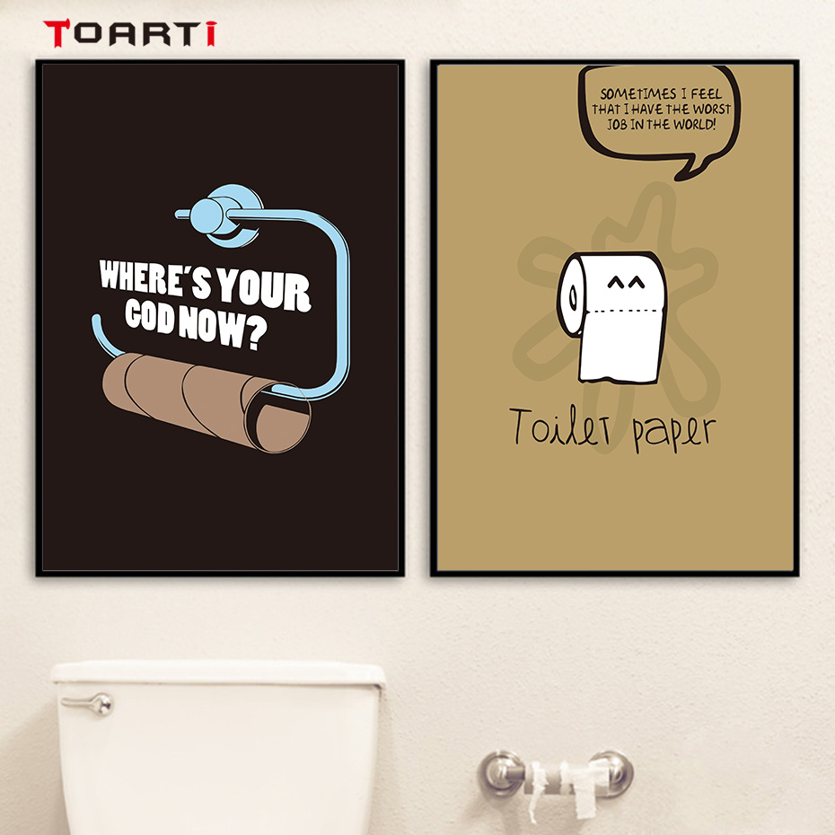 Toilet Paper Jokes Canvas Painting Cartoon Wall Art Pictures Modern Mural Vintage Poster Bathroom Home Decoration Nursery Prints