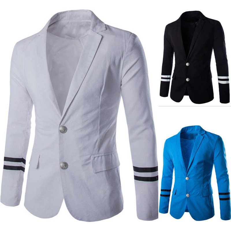 New Arrival Two Navy Button Stripe Sleeves Leisure Blazers Men Jacket  Slim Fit Casual Suit Blazer  Clothing M-2XL