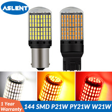 ASLENT T20 7440 W21W LED Bulbs 3014 144smd led 1157 BAY15D CanBus 1156 BA15S P21W BAU15S PY21W lamp Turn Signal Light No Flash 2pcs turn signal light 1156 ba15s bau15s 7507 7440 led no hyper flash amber 144smd t20 w21w canbus led bulbs
