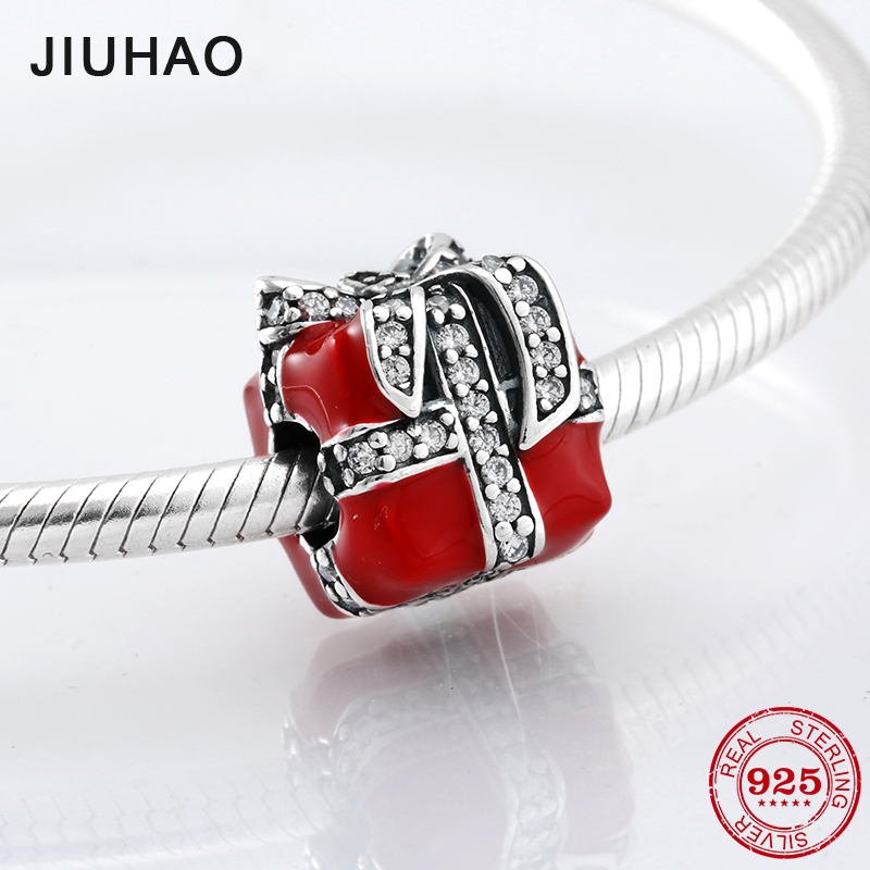 Christmas present 925 Sterling Silver red enamel gift box and CZ beads Fit Original Pandora Charm Bracelet Jewelry making strollgirl car keys 100% sterling silver charm beads fit pandora charms silver 925 original bracelet pendant diy jewelry making