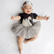 Bosudhsou MC-17 Swan Double Layers Fluffy Baby Dress Swan Romper Tutu Jumpsuit Dress Birthday Sets Baby Children Clothing