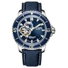 Reef Tijger/RT Mens Dive Horloges Nylon Band Blauwe Wijzerplaat Horloges Lichtgevende Automatische Horloge met Datum RGA3039