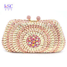 LaiSC Pink Evening Dress Bag Women Dinner Clutch Bag Pochette Soiree Lady Clutches With Crystals Pearl Diamond party Purse SC248
