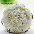 Bouquet De Fleurs Mariage White Bridal Bouquet Wedding Flowers Bridal Bouquets Green Silk Ribbons Crystal Bridal Bouquets